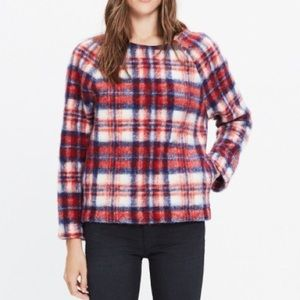 Brushed red plaid pullover top